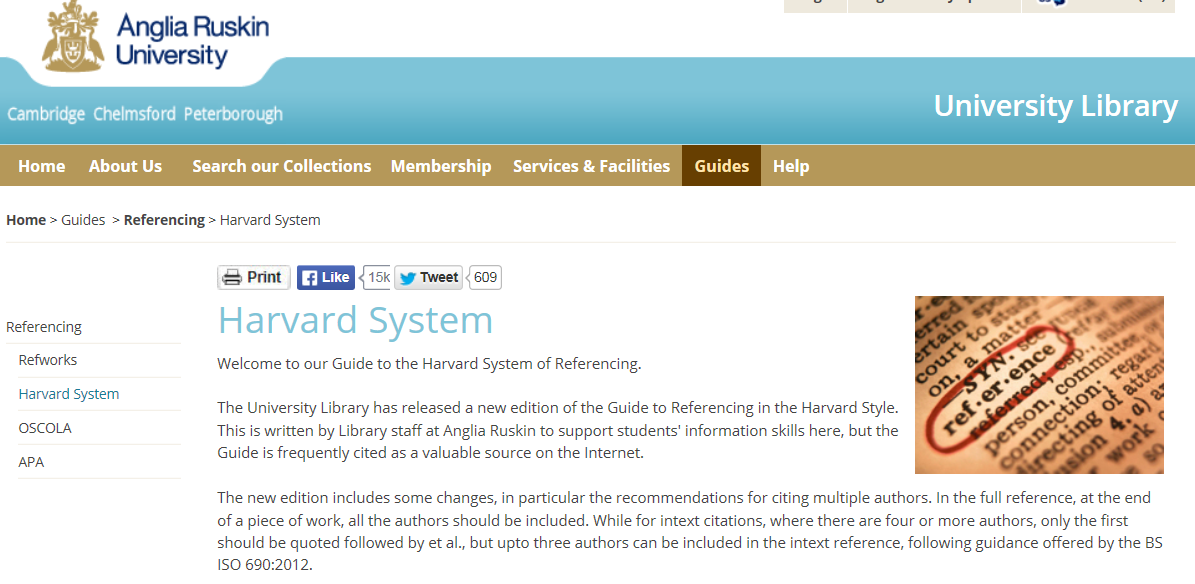 harvard referencing guide Harvard is a commonly used method of referencing, which uses the author-date system which harvard style harvard has been adapted to suit many different publication styles.