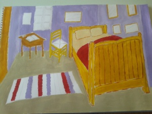 My 1st painting. I have strayed from the original Van Gogh. This is Jo's room. It still needs work. Painting is hard :)