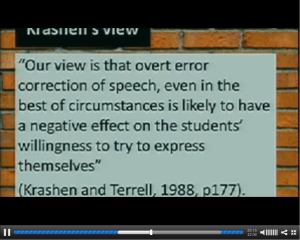 Screen shot of Chris Smith's slides: Krashen and Terrel quote