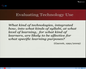 Screenshot of Joy Egbert's slides: Evaluating Technology